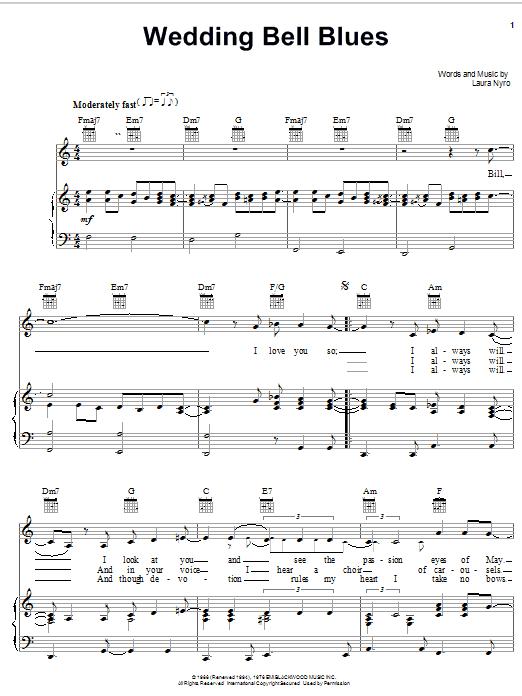 Laura Nyro Wedding Bell Blues sheet music notes printable PDF score
