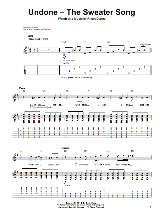 Weezer Undone - The Sweater Song sheet music notes and chords. Download Printable PDF.