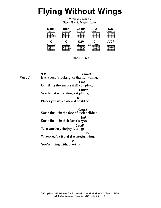 Westlife Flying Without Wings sheet music notes printable PDF score