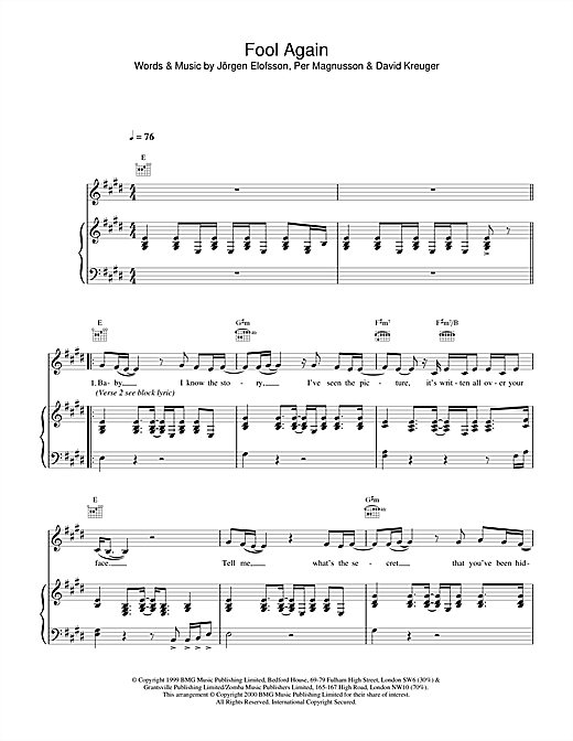 Westlife Fool Again sheet music notes printable PDF score