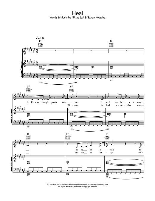 Westlife Heal sheet music notes printable PDF score
