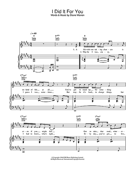 Westlife I Did It For You sheet music notes and chords. Download Printable PDF.