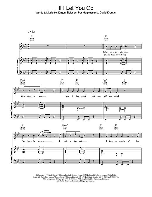 Westlife If I Let You Go sheet music notes printable PDF score