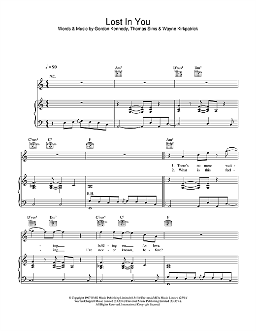 Westlife Lost In You sheet music notes printable PDF score