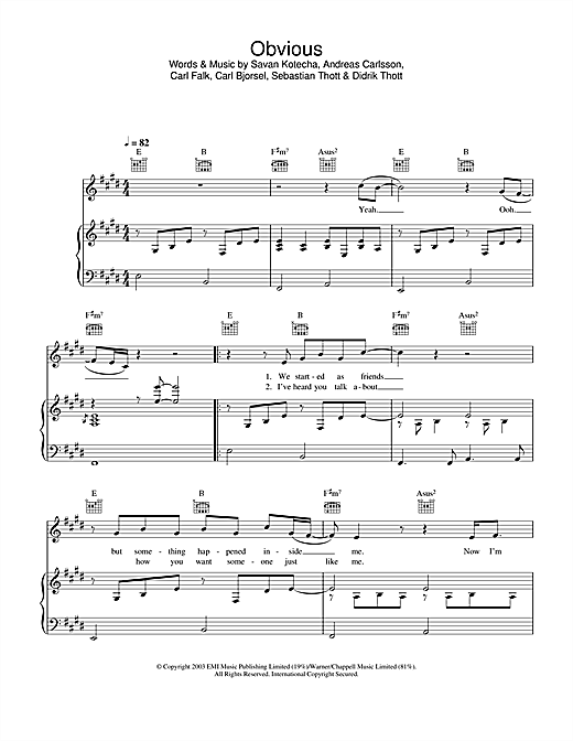 Westlife Obvious sheet music notes and chords. Download Printable PDF.