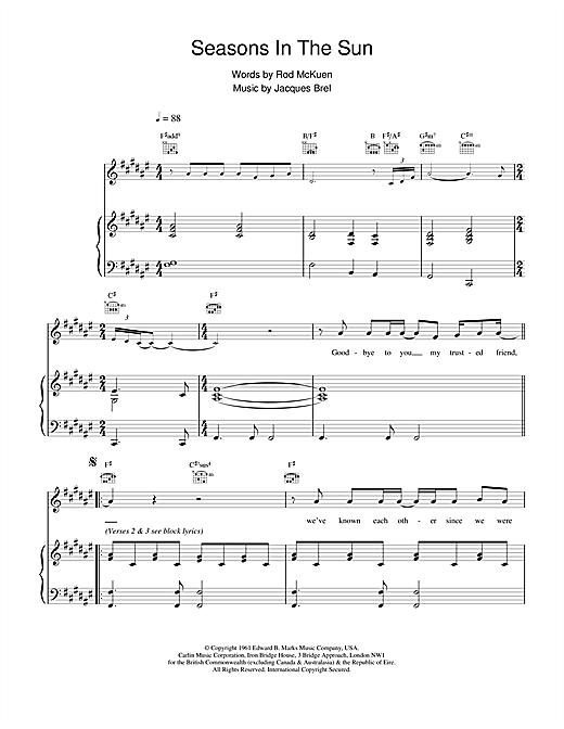 Westlife Seasons In The Sun sheet music notes printable PDF score