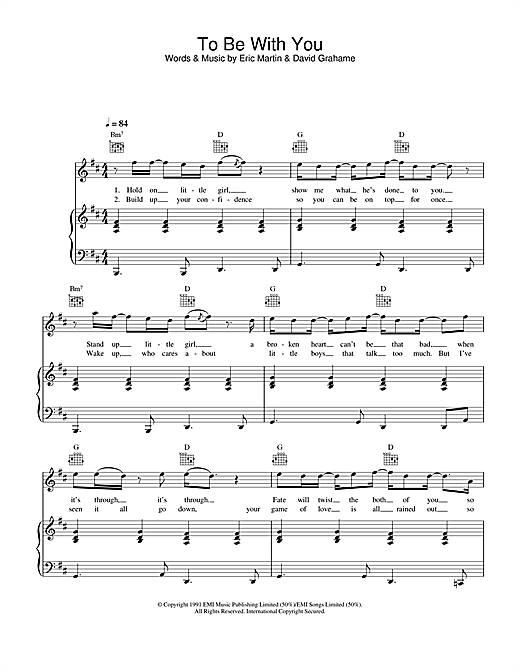 Westlife To Be With You sheet music notes printable PDF score