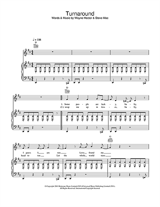 Westlife Turnaround sheet music notes and chords. Download Printable PDF.