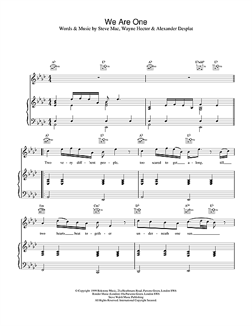 Westlife We Are One sheet music notes printable PDF score