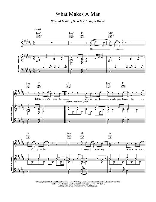 Westlife What Makes A Man sheet music notes printable PDF score