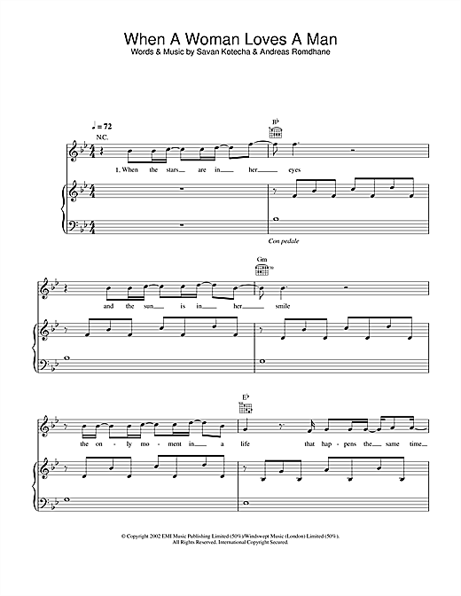 Westlife When A Woman Loves A Man sheet music notes printable PDF score