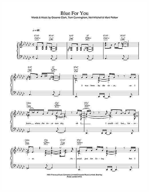 Wet Wet Wet Blue For You sheet music notes printable PDF score