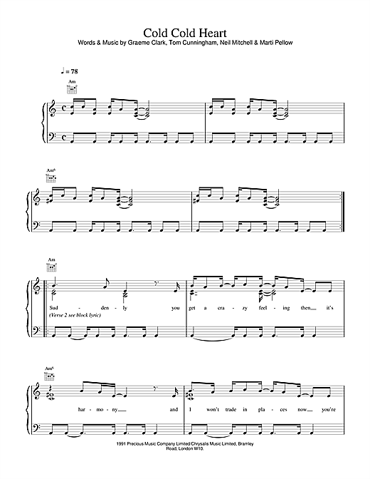 Wet Wet Wet Cold, Cold Heart sheet music notes printable PDF score
