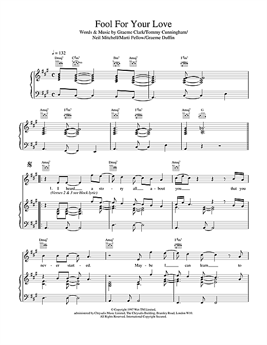 Wet Wet Wet Fool For Your Love sheet music notes printable PDF score