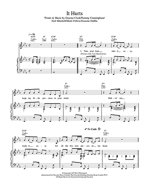 Wet Wet Wet It Hurts sheet music notes printable PDF score