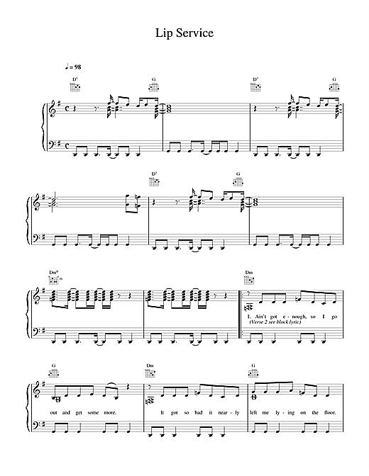 Wet Wet Wet Lip Service sheet music notes printable PDF score