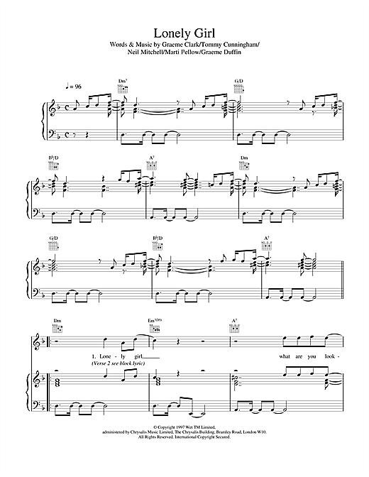 Wet Wet Wet Lonely Girl sheet music notes printable PDF score
