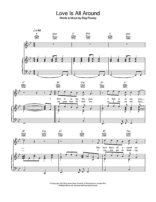 Wet Wet Wet Love Is All Around sheet music notes and chords. Download Printable PDF.