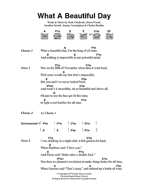 The Levellers What A Beautiful Day sheet music notes printable PDF score