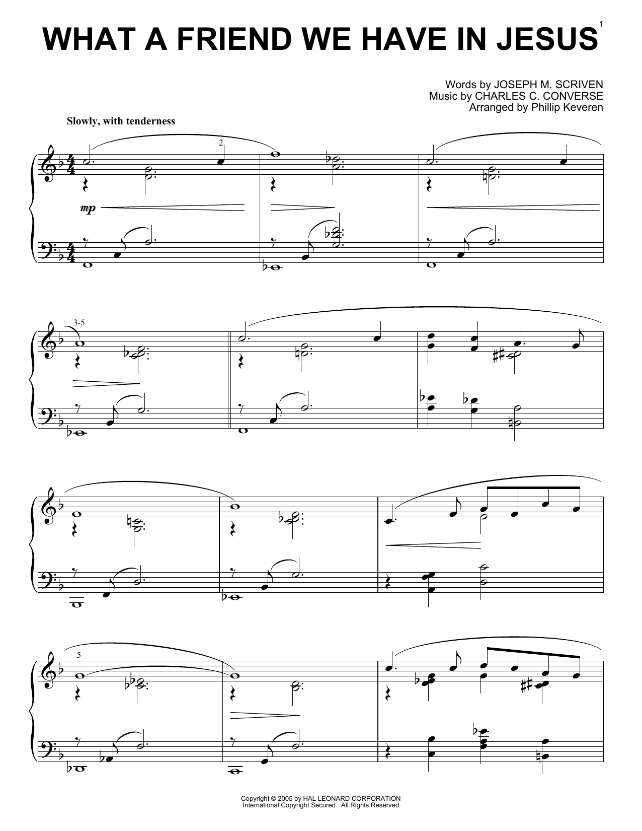 Charles C. Converse What A Friend We Have In Jesus [Jazz version] (arr. Phillip Keveren) sheet music notes printable PDF score