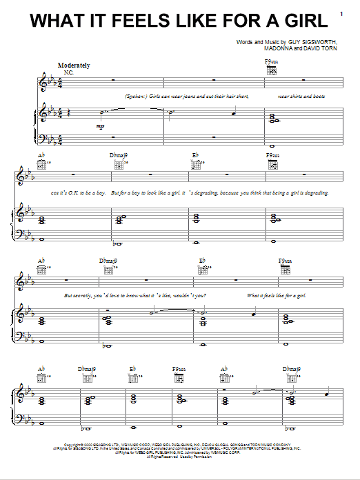 Madonna What It Feels Like For A Girl sheet music notes printable PDF score
