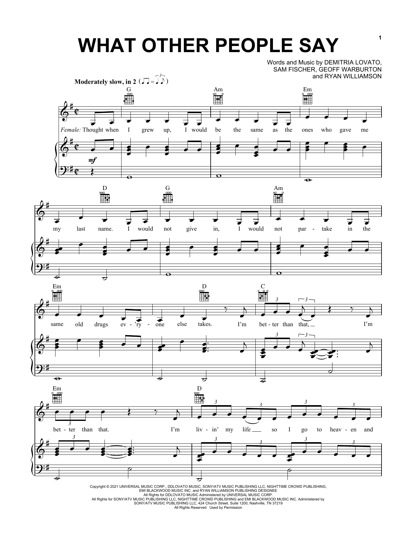 Sam Fischer & Demi Lovato What Other People Say sheet music notes printable PDF score