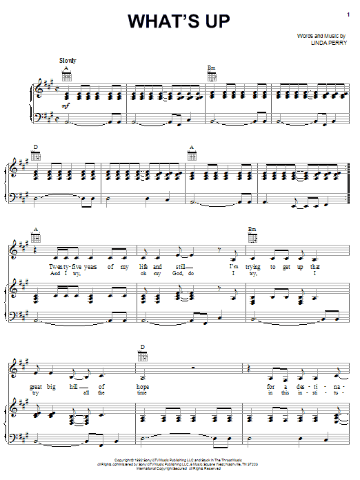 4 Non Blondes What's Up sheet music notes printable PDF score