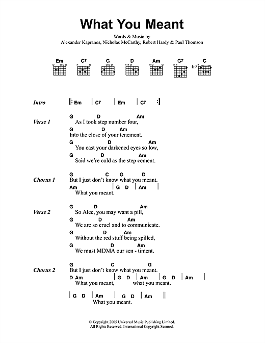 Franz Ferdinand What You Meant sheet music notes printable PDF score