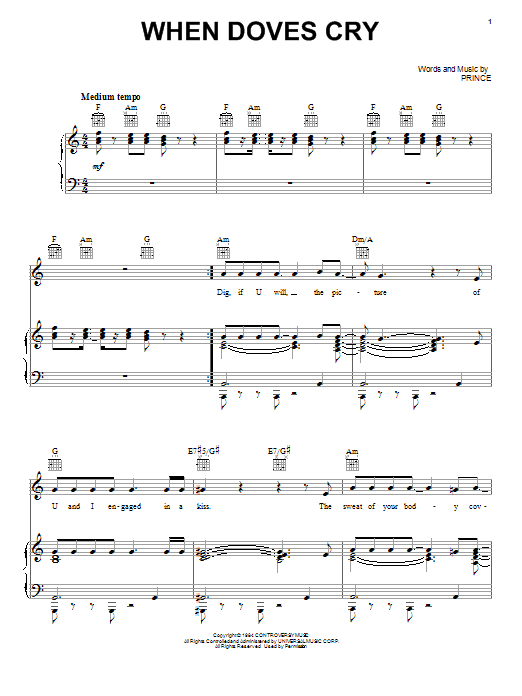 Prince When Doves Cry sheet music notes printable PDF score