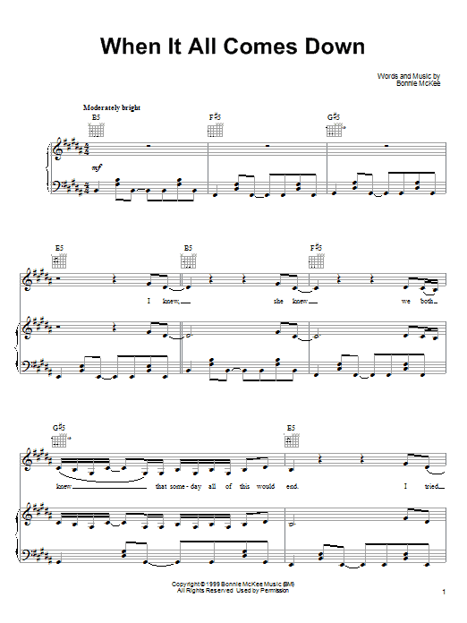 Bonnie McKee When It All Comes Down sheet music notes printable PDF score
