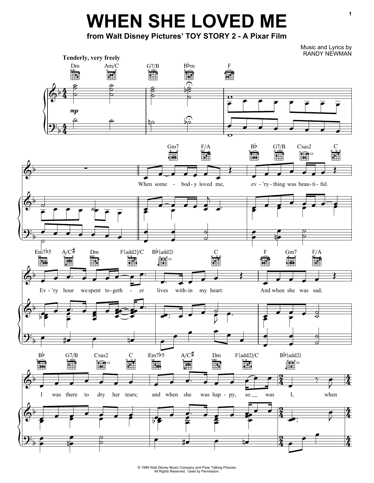 Sarah McLachlan When She Loved Me (from Toy Story 2) sheet music notes printable PDF score