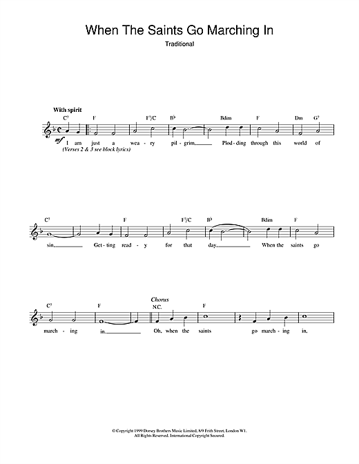African-American Spiritual When The Saints Go Marching In sheet music notes printable PDF score