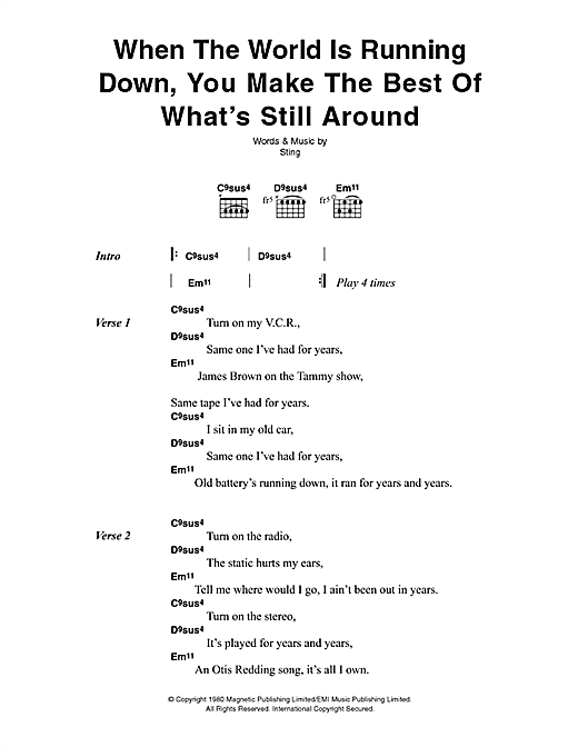 The Police When The World Is Running Down sheet music notes printable PDF score