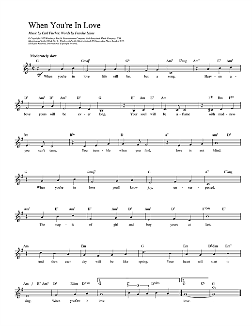 Fischer and Laine When You're In Love sheet music notes printable PDF score