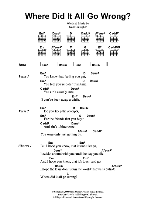 Oasis Where Did It All Go Wrong? sheet music notes printable PDF score
