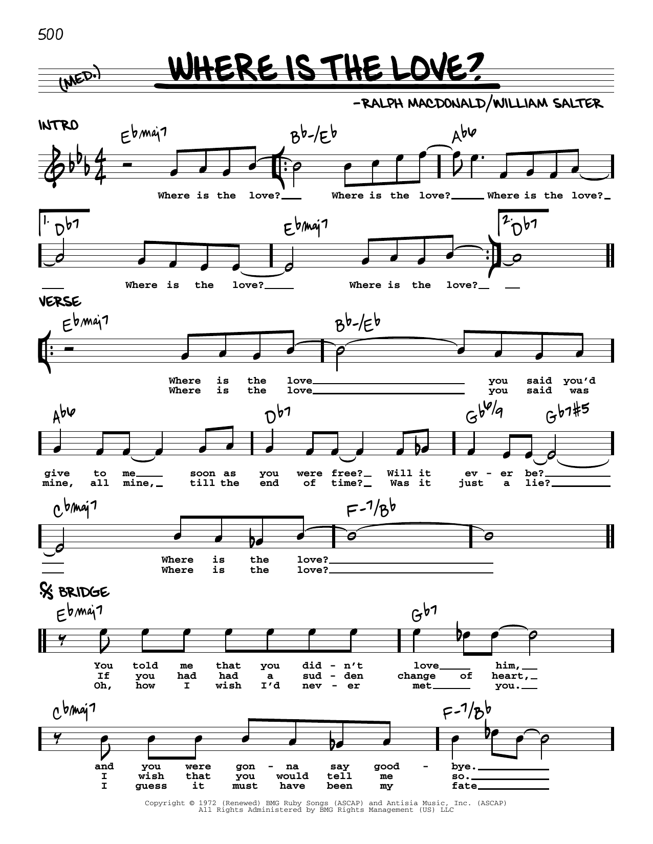 Roberta Flack and Donny Hathaway Where Is The Love? sheet music notes printable PDF score