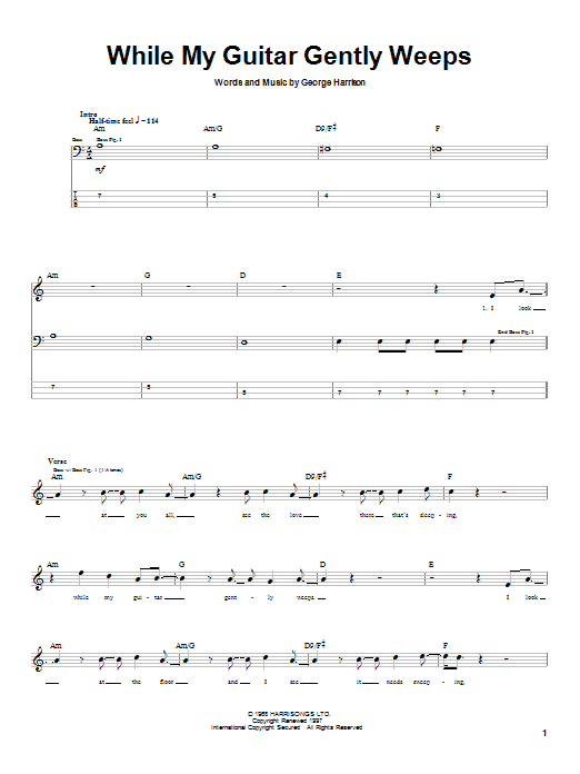 The Beatles While My Guitar Gently Weeps sheet music notes printable PDF score