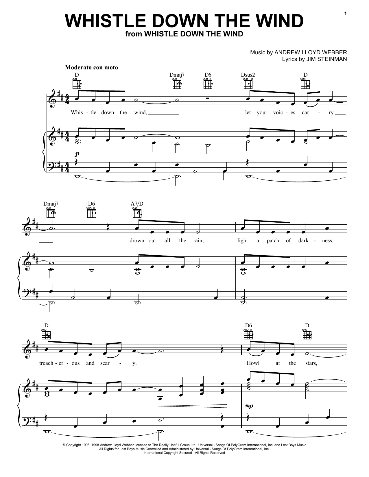 Andrew Lloyd Webber Whistle Down The Wind sheet music notes printable PDF score