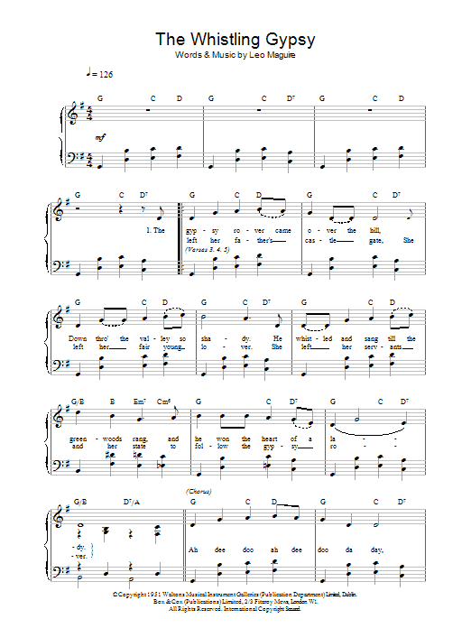 Leo Maguire Whistling Gypsy sheet music notes printable PDF score