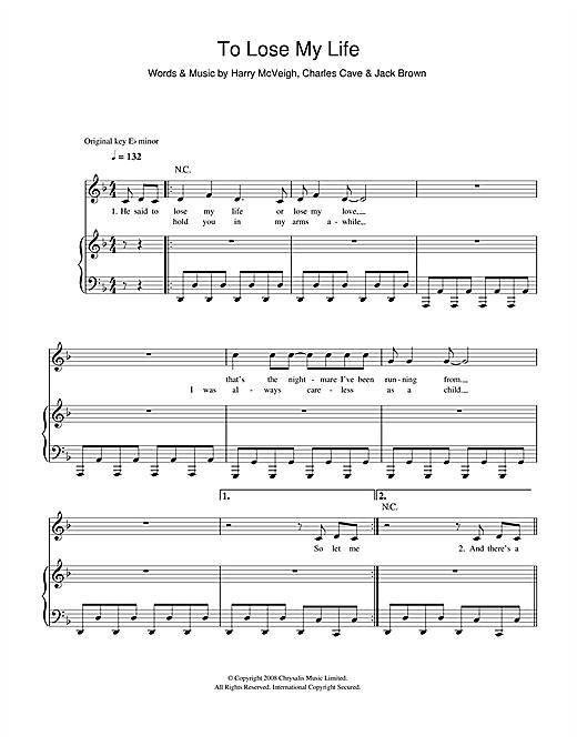White Lies To Lose My Life sheet music notes printable PDF score