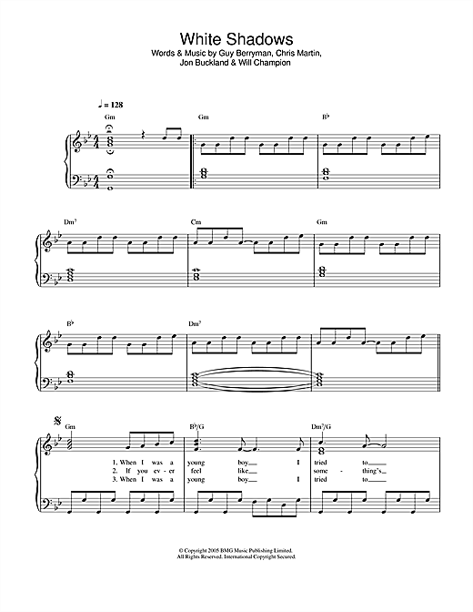 Coldplay White Shadows sheet music notes printable PDF score