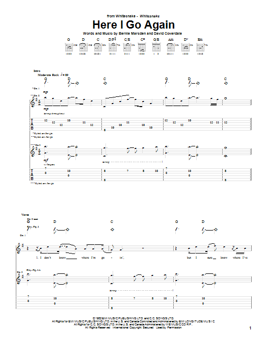 Whitesnake Here I Go Again sheet music notes and chords. Download Printable PDF.