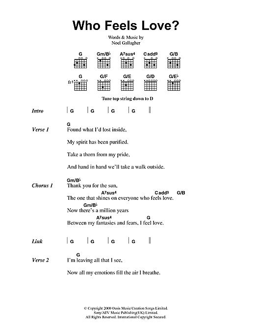 Oasis Who Feels Love? sheet music notes printable PDF score