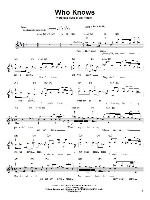 Jimi Hendrix Who Knows sheet music notes printable PDF score