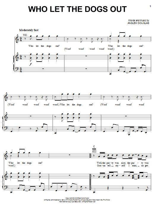 Baha Men Who Let The Dogs Out sheet music notes printable PDF score
