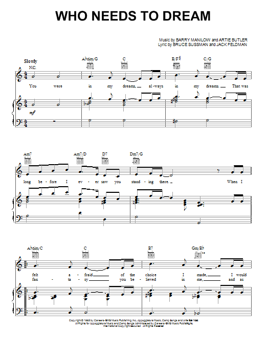 Barry Manilow Who Needs To Dream sheet music notes printable PDF score