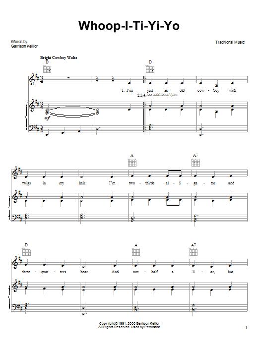Garrison Keillor Whoop-I-Ti-Yi-Yo sheet music notes printable PDF score