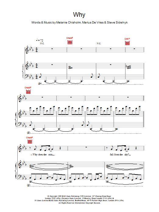 Melanie C Why sheet music notes printable PDF score