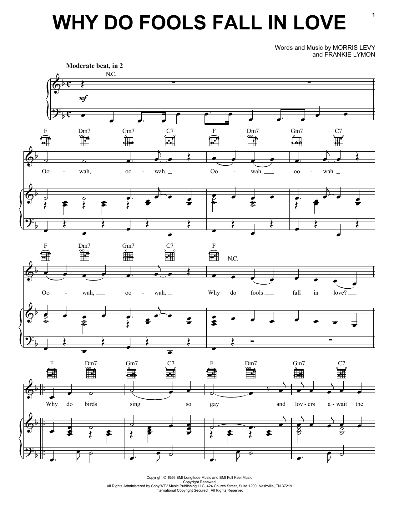 Frankie Lymon & The Teenagers Why Do Fools Fall In Love sheet music notes printable PDF score
