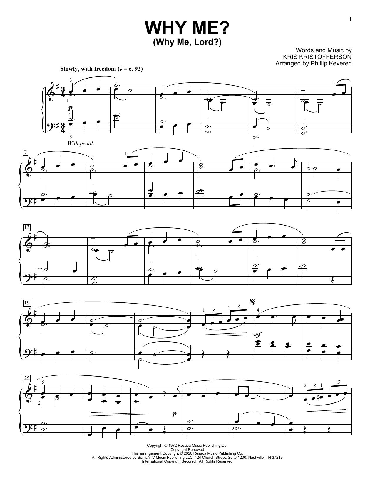 Kris Kristofferson Why Me? (Why Me, Lord?) [Classical version] (arr. Phillip Keveren) sheet music notes printable PDF score